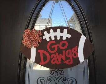 Georgia Bulldog Go Dawgs Wooden Door Hanger