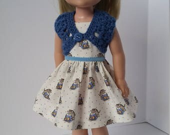 "14.5"" doll clothing - Blue shrug and cream dress that has kitties on it."