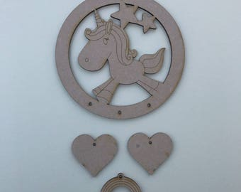 MDF Unicorn B Dream Catcher ready to decorate, choose your hanging shapes