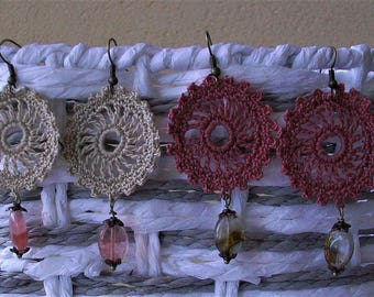 Cotton crocheted earrings with gemstone, 75 mm