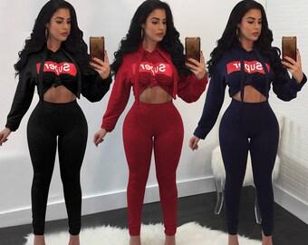 Super Cute Long Sleeve Hooded Crop Top and Skinny Pants Club wear Tracksuit Suits