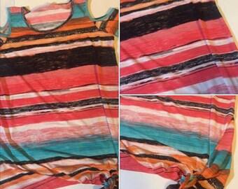 Striped cold shoulder blouse