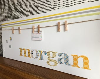 """Personalised decorative peg board for photos and keepsakes - with button motif - 12"""" x 30"""" - morgan"""