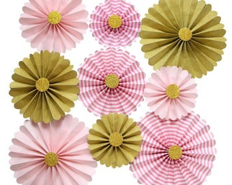 Pink and Gold Paper Rosettes Decorations for Girl Baby Shower and Sweet 16 Pack of 9