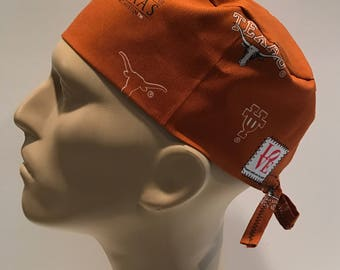 Men's Surgical Scrub Hat with Ties~University of Texas Longhorns~Austin~College Football~NCAA