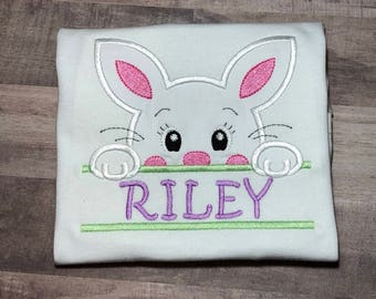 Easter Shirt for Girls, Girl Bunny Easter Shirt, Personalized Easter Shirt for Girls, Custom Easter Shirt, Girl's Easter Shirt