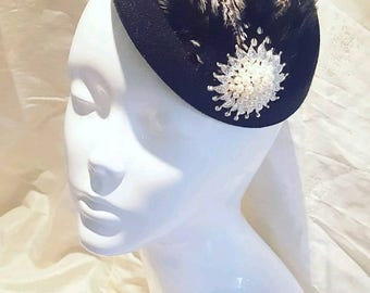 Black and White Monocrome Feather 1920s Pearl PillBox Hat Wedding Party Races Hair Facinator Clip