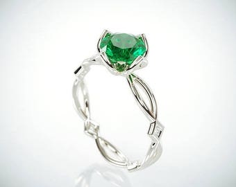 SALE Christmas in July! 14K White Gold Emerald Engagement Ring  | 14k white gold Natural Emerald and Diamonds engagement ring