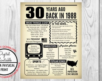 30 Years Ago Back in 1988, 30th Birthday Poster Sign, Back in 1988 Newspaper Style Poster, Printable, Instant Download, 30 years ago facts