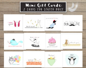 Thank You Mini Card Set SoldInPairs Funny thank you gift card tag Thank you greeting card fun pun card set totoro otter whale pun thank card