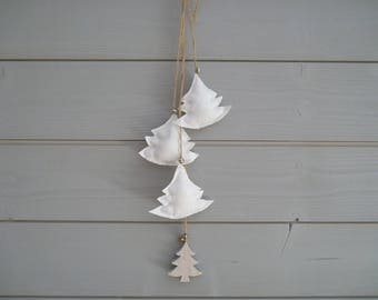 Christmas tree in white fabric wreath small pine wood - christmas garland - Christmas - tree fabric - christmas tree wall decor-