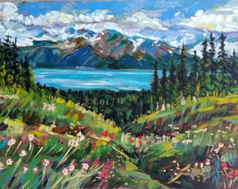 "Original Oil Painting, Landscape --Whistler Summer, 20""x28"", 1802262"