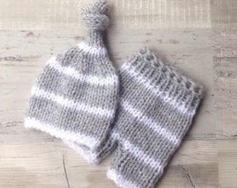 Baby knit set, Newborn set, Knit set, Handmade, Photoprop, Ready to ship
