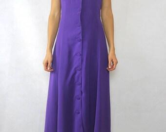 VINTAGE Network 80s Purple Button Through Dress Size XS 8
