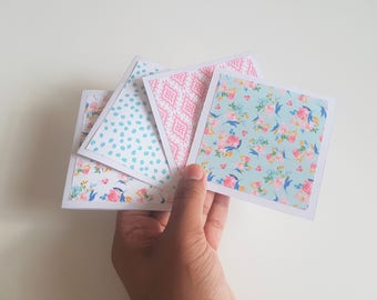 4 Blue and Pink Mini Notecards // Mini Note Cards Set// Blank Notecards// Blank Cards// Small Cards //Bright Cards