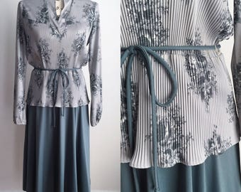 Vintage Midi Dress, 60s Midi Dress, Vintage Gray Dress, Gray Floral Dress