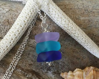 Made in Hawaii, Purple  blue cobalt sea glass necklace ,Beach glass necklace,925 sterling silver chain,gift box, Beach jewelry gift.
