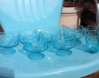 1960's Vintage Anchor Hocking Lido Milano Aquamarine Aqua Turquoise - Sherbets - Set of Six + One Juice Glass - Excellent Condition