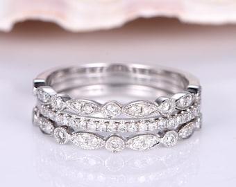 3pcs diamond wedding band half eternity ring solid 14k white gold engagement ring stacking matching band anniversary ring Marquise set