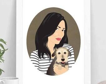 Custom portrait with pet, Pet portrait, portrait illustration,