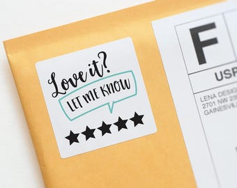 Review Stickers - Package Stickers - Etsy Review - Review Request - Purchase Review - Review Labels - Packaging Supplies - Product Reviews