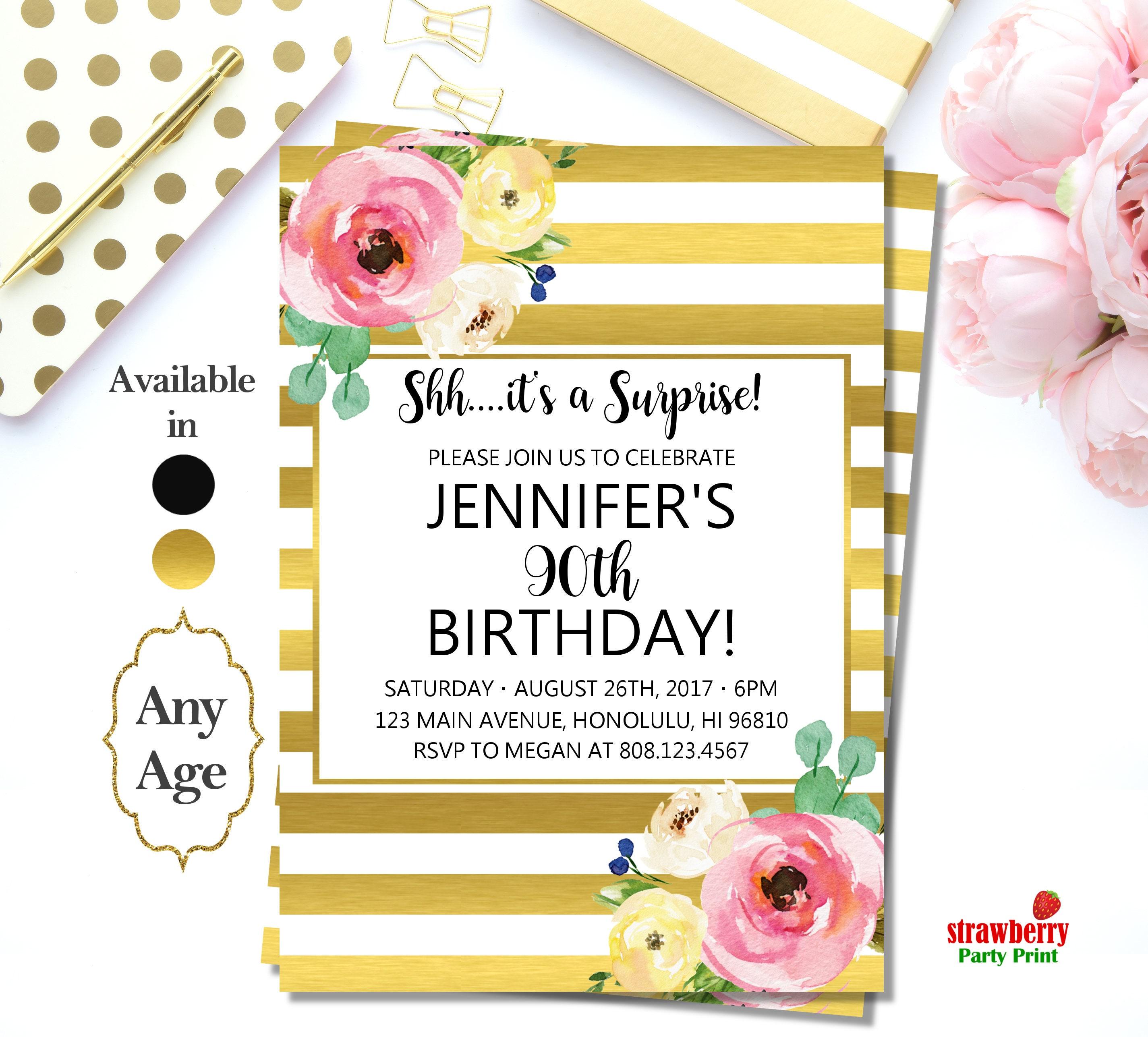 90th Birthday Invitations for Women. Gold & White Birthday ...