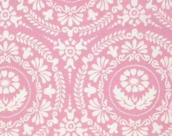 "BTHY - Nastalgia by Jennifer Paganelli for Free Soirit, Pattern #PWJP106.PINKX Figgy, Large 6.5"" White Floral Medallions on Pink"