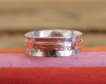 Handmade - Sterling Silver and Copper Spinner Ring - Made In England - Thumb ring - Boho - Personalized - Personalised - Worry Ring