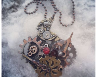 Steampunk pendant mixed metal
