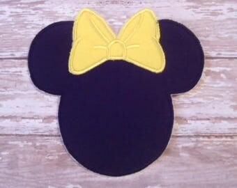Minnie Mouse Applique - Yellow Bow - Embroidered Applique - Iron On - Ready To Ship