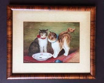 Antique cat painting, signed and dated, naive art, kitten painting, cottage decor, kids room decor