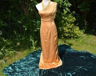 Vintage 1930's Hand made Gold Satin off the Shoulder Evening Dress