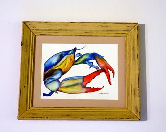 Blue crab watercolor