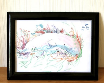 Ilustración original * ballena * animal, color, naturaleza, hippie, bohemio, viaje, mar, peces, plumas, papel, dibujo, acuarela