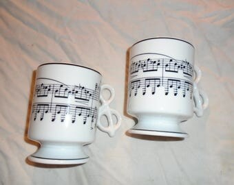 Musical Coffee Cups W/ Clef Note Handle Made By Colonial Candle Company