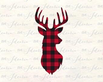 Plaid svg, plaid deer svg, deer svg, reindeer svg, buffalo plaid svg, deer head svg, deer svg files, plaid svg files, plaid christmas svg