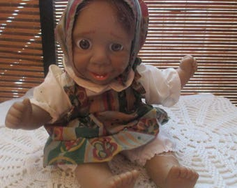 Ugly Gloobee Expression Girl Doll with Pinafore Dress (1990s)