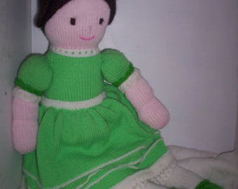 Hand Knitted Large Doll - Wearing a Green Dress
