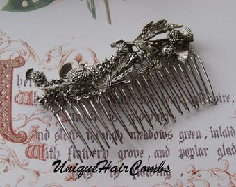 Vintage Scottish Thistle Marcasite Hair Comb, Silver Tone Thistle Comb- Wedding, Bridal, Prom Hair Accessories