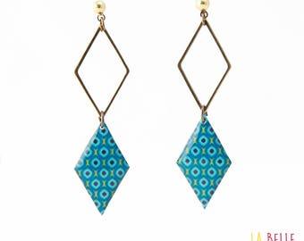 double Stud Earrings diamond, pattern blue vintage resin Locket