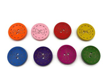 8 buttons wooden 28 mm - 2 hole - round button - dishes - 8 color choice or mixed color-button couture bow tie-C001