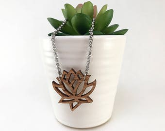 Wooden Lotus Necklace