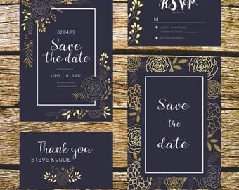 Floral, printable wedding invitation.