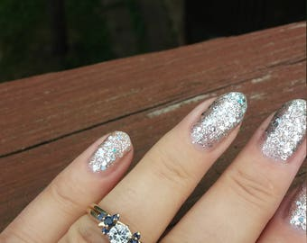 14k Gold Diamond Blue Sapphire Wedding Set Wedding Engagement Ring