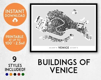 Venice map print, Printable Venice map art, Venice print, Venice art, Venice poster, Venice wall art, Venice gift, Map of Venice, Italy map