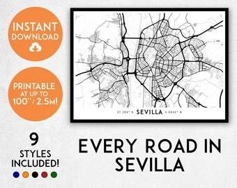 Sevilla map print, Printable Seville map art, Sevilla print, Sevilla art, Seville poster, Sevilla wall art, Sevilla gift, Spain map print