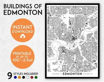 Fantasy style illustrated map of canada canada map art wall edmonton map print printable edmonton map art edmonton print canada map edmonton gumiabroncs Images