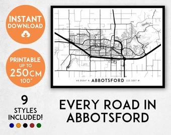 Abbotsford map print, Printable Abbotsford map art, Abbotsford print, Canada map, Abbotsford art, Abbotsford poster, Abbotsford wall art