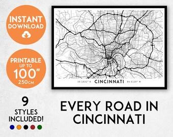 Cincinnati map print, Printable Cincinnati map art, Cincinnati print, Cincinnati art, Cincinnati poster, Cincinnati wall art, Ohio map print