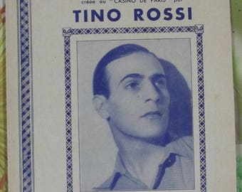 Vintage French song 1940 Sheet Music - O Corsica pretty created by Tino Rossi at the Casino de Paris